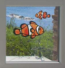 CLR:WND - Tropical Fish - Clownfish - Stained Glass Style See-Through Vinyl Window Decal ©2018 YYDC (SIZE CHOICES)
