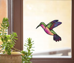 "WND-109 - Green Rainbow Hummingbird - Stained Glass Style Vinyl Decal for Windows | Mirrors | Home Decor ©YYDC (6""Wx5""H) (COLOR VARIATIONS AVAILABLE) CLR:WND"