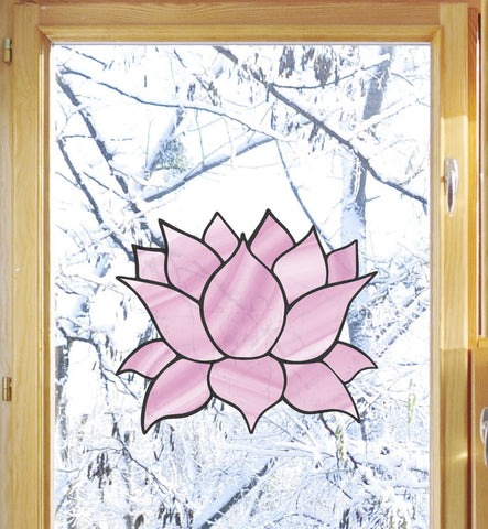 "CLR:WND - Stained Glass Lotus Flower - D4 - Translucent Vinyl Decal for Windows - © 2016 YYDCo. (5""w x 4.5""h) (Color Choices)"