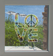 "CLR:WND - Love Sculpture - Peace Sign Rainbow Tie Dye - See-Through Vinyl Window Decal - Copyright ©Yadda-Yadda Design Co. (4.75""w x 5.5""h)"