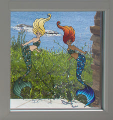 "CLR:WND - Mermaid - See-Through Vinyl Window Decal - ©2016 YYDC (MD 3.5""w x 8""h) (COLOR CHOICES)"