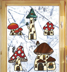 CLR:WND - Mushroom Village XL - Fairy - Gnome - Fantasy - Stained Glass Style Vinyl Window Decals - Copyright 2017 Yadda-Yadda Design Co. (VARIATIONS AVAILABLE)