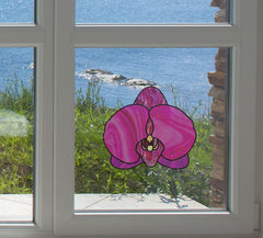 "CLR:WND - Stained Glass Style Orchid - Purple Phalaenopsis-  Window | Mirror Vinyl Decal - © YYDC (5""w x 4.5""h)"