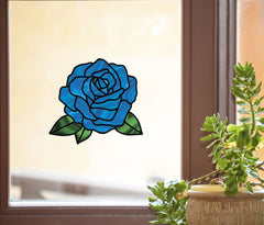 "CLR:WND - Rose Stained Glass - D2- See-Through Vinyl Window Decal - © YYDC (6""w x 5.5""h) (Color Choices)"
