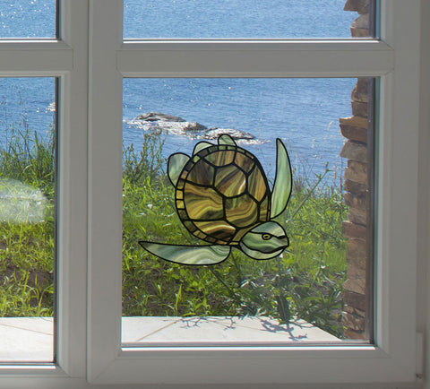 CLR:WND - Honu Sea Turtle - Stained Glass Style Vinyl Decal for Windows | Home Decor - ©YYDC (Green-Brown)