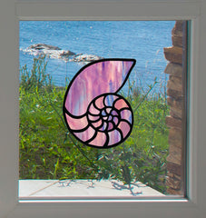 CLR:WND - Shell - Nautilus Seashell - Stained Glass Style Vinyl Window Decal - © 2016 YYDCo. (Color Choices Available)