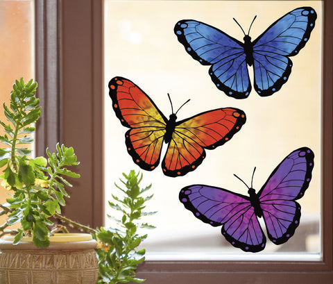 "CLR:WND - Butterfly D1 - 3-PACK - See-Through Vinyl Window Decal © YYDC (3) (MEDIUM 6""w x 3.75""h)"