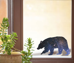 "CLR:WND - Cosmic Bear - D1 - Galaxy Spirit Animal - See-Through Vinyl Window Decal ©YYDC (6""w x 3.5""h)"