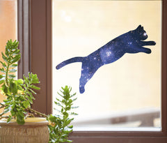 "CLR:WND - Cosmic Cat Jumping - Star Cat Galaxy - D1 - See-Through Vinyl Window Decal © YYDCo. (6.5""w x 2.5""h)"