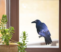 "CLR:WND - Cosmic Crow - Raven - Galaxy Spirit Animal - See-Through Vinyl Window Decal ©YYDC (4""w x 4.75""h)"