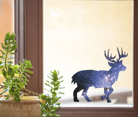 "CLR:WND - Cosmic Deer - Galaxy Spirit Animal - See-Through Vinyl Window Decal ©YYDC (6""w x 6""h)"