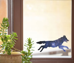 "CLR:WND - Cosmic Dog - Galaxy Spirit Animal - See-Through Vinyl Window Decal ©YYDC (6""w x 3""h)"