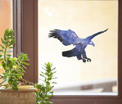 "CLR:WND - Cosmic Eagle - Galaxy Spirit Animal - See-Through Vinyl Window Decal ©YYDC (7""w x 4""h)"