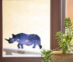 "CLR:WND - Cosmic Rhino - Rhinoceros - Galaxy Guide Spirit Animal - See-Through Vinyl Window Decal - Copyright © YYDC (MD 6.75""w x 3""h)"