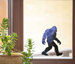 "CLR:WND - Cosmic Sasquatch - Galaxy Bigfoot - See-Through Vinyl Window Decal ©YYDC (5""w x 7""h)"