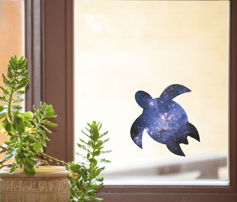 "CLR:WND - Cosmic Sea Turtle - Galaxy Honu - See-Through Vinyl Window Decal ©YYDC (5""w x 5""h)"