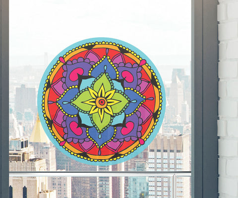 CLR:WND - Floral Mandala -  See-Through Vinyl Window Decal - © 2016 YYDC (5 inch dia.)(Color Choices)