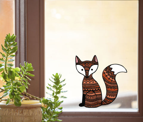 "CLR:WND - Patterned Fox - Cute Fox - See-Through Vinyl Window Decal ©YYDC (5""w x 5""h)"