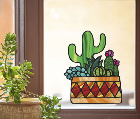 CLR:WND - Potted Cactus Succulent Plants -D3- Stained Glass Style See-Through Vinyl Window Decal - Copyright 2017 © YYDC (VARIATIONS AVAILABLE)