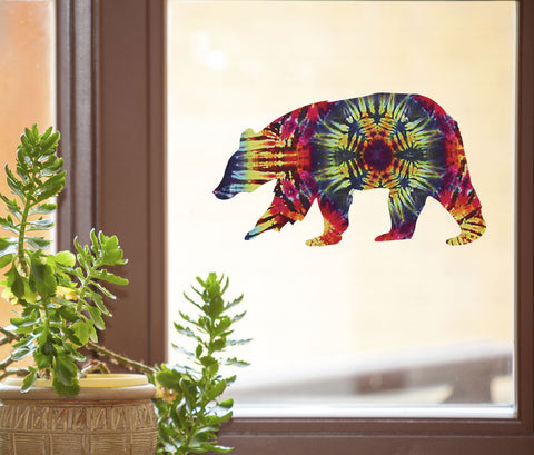 "CLR:WND - Rainbow Tie Dye Bear - D1 - See-Through Vinyl Window Decal © YYDC (6""w x 3.5""h)"