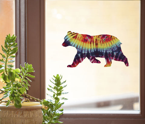 "CLR:WND - Rainbow Tie Dye Bear - D2 - See-Through Vinyl Window Decal © YYDC (6""w x 3.25""h)"