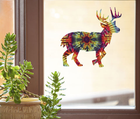 "CLR:WND - Rainbow Tie Dye Deer - See-Through Vinyl Window Decal © YYDC (5.75""w x 5.75""h)"