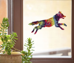 "CLR:WND - Rainbow Tie Dye Dog - See-Through Vinyl Window Decal © YYDC (6""w x 3.25""h)"