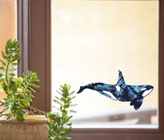 "CLR:WND - Blue Tie Dye Orca - Killer Whale - See-Through Vinyl Window Decal ©YYDC (8.5""w x 4.5""h)"