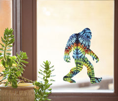"CLR:WND - Rainbow Tie Dye Sasquatch - Bigfoot - See-Through Vinyl Window Decal © YYDC (5""w x 7""h)"