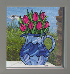 CLR:WND - Tulips in Pitcher - Stained Glass Style - See-Through Vinyl Window Decal ©YYDC
