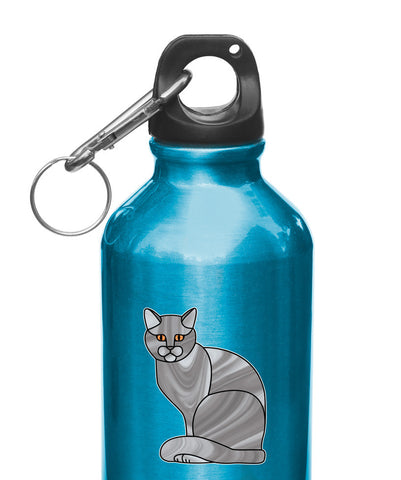 "CLR:WB - GREY Charming Cat Stained Glass Style - Vinyl Decal for Water Bottles | Vacuum Flask | Cup |  © YYDC (2.25""w x 2.75""h)(Color Choices)"