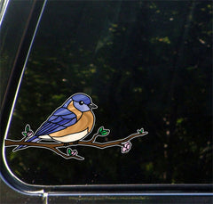 "CLR:CAR - Bird - Eastern Bluebird Perched - Stained Glass Style - Opaque - Vinyl Car  Decal ©YYDC (MD 6.5""w x 3""h)"