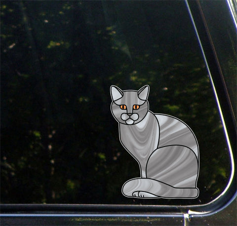 "CLR:CAR - GREY Charming Cat - Stained Glass Style Vinyl Decal for Cars © YYDC (5.5""w x 7""h)"