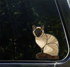 "CLR:CAR - SIAMESE Charming Cat - Stained Glass Style - Vinyl Decal for Cars © YYDC (5.5""w x 7""h)"