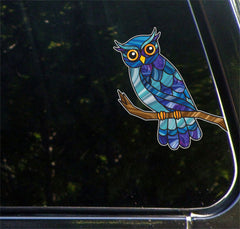 "CLR:CAR - Curious Owl on Branch Stained Glass - Vinyl Decal for Cars | Trucks | ATVs | Walls ©YYDC (5.5""w x 7""h) (Color Choices Available)"