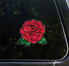 "CLR:CAR - Rose Stained Glass -D2- Vinyl Decal for CAR | TRUCK | ATV | Outdoor Use  - © YYDC (6""w x 5.5""h) (Color Choices)"