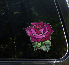 "CLR:CAR - Rose Stained Glass -D1- OPAQUE Vinyl Car Decal  - © YYDC (5""w x 5.3""h) (Color Choices)"