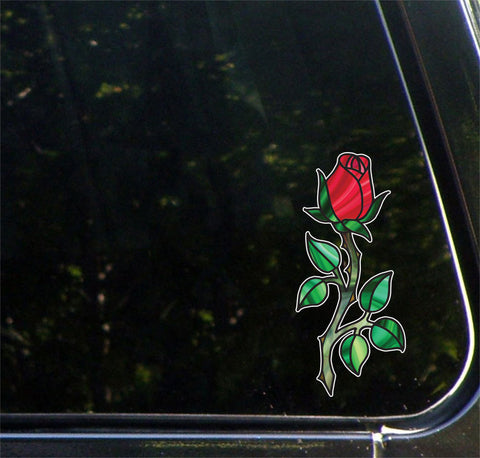 "CLR:CAR - Rose - Rosebud on Stem - Stained Glass Style - Vinyl Decal for CAR | TRUCK | ATV | Outdoor Use  - © YYDC (3""w x 7""h) (Color Choices)"