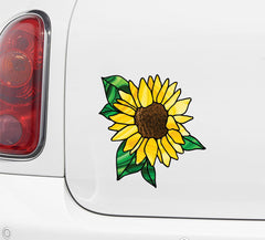 CLR:CAR - Sunflower - D2 - Stained Glass Style Vinyl Decal for Car | Truck | Sporting Equipment  ©YYDC (Size Variations Available)