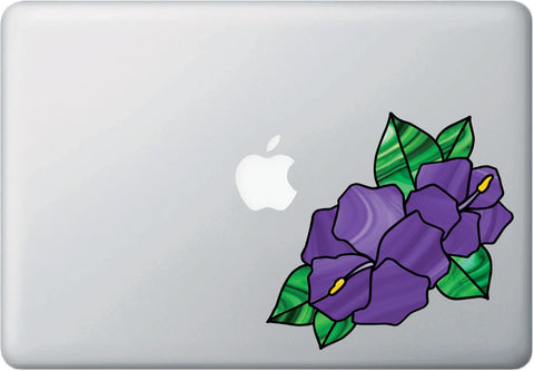 "CLR:MB - Hibiscus Stained Glass Style - Vinyl Decal for Laptop | Macbook | Tablet  © YYDC  (5.5""w x 5.5""h) (Color Choices)"