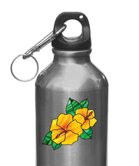 "CLR:WB - Hibiscus Stained Glass Style - Vinyl Decal for Water Bottle | Vacuum Flask | Thermos | Cup © YYDC  (2""w x 2""h) (Color Choices)"