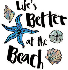 "CLR:WALL - Life's Better at the Beach -Wall Quote Vinyl Decal © YYDC (16""w x 16.75""h)(Color Choices Available)"