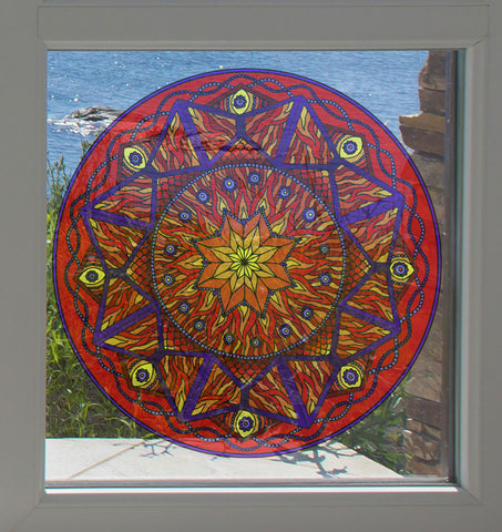 "CLR:WND - Element Mandalas - Vinyl Window Decal - © 2015 YYDC (7.5"" diameter)(Color Choices)"