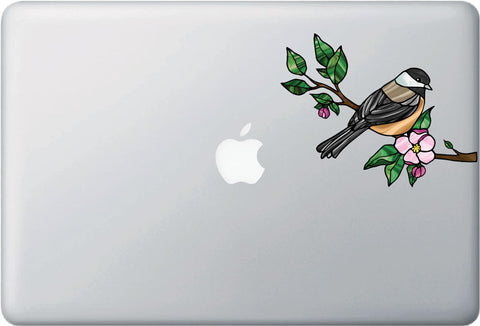 "CLR:MB - Chickadee with Apple Blossom - Bird - Stained Glass Style - Opaque - Vinyl Laptop Decal ©YYDC (MD 6""w x 4.75""h)"