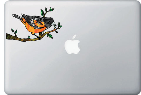 "CLR:MB - Oriole Bird Perched on Branch - Stained Glass Style - Opaque Vinyl Macbook Laptop Decal ©YYDC (5.25""w x 3.25""h)"