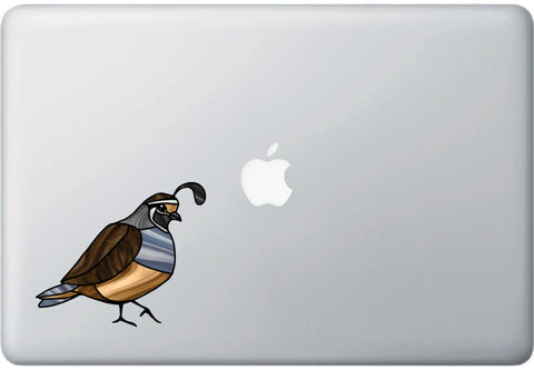 "CLR:MB - Bird - Quail - Stained Glass Style - Opaque - Vinyl Macbook Laptop Decal ©YYDC (MD 5""w x 4.25""h)"