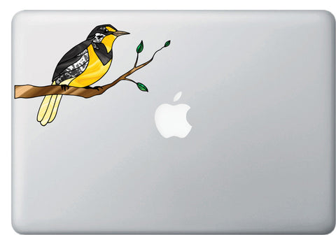 "CLR:MB - Western Meadowlark Bird on Branch - Stained Glass Style - Opaque Vinyl Macbook Laptop Decal ©YYDC (6.25""w x 4""h)"