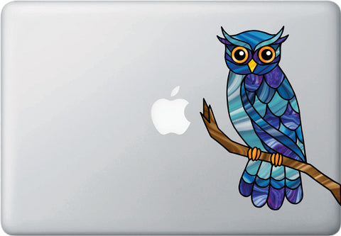 "CLR:MB - Curious Owl on Branch Stained Glass Style Vinyl Laptop Decal  ©YYDC (5.5""w x 7""h) (Color Choices Available)"