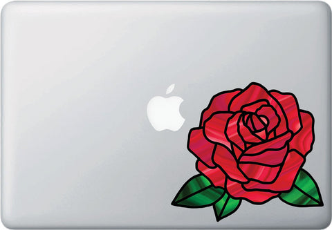 "CLR:MB - Rose Stained Glass -D2- Vinyl Decal for Macbook | Laptop | Appliance | Wall  - © YYDC (6""w x 5.5""h) (Color Choices)"