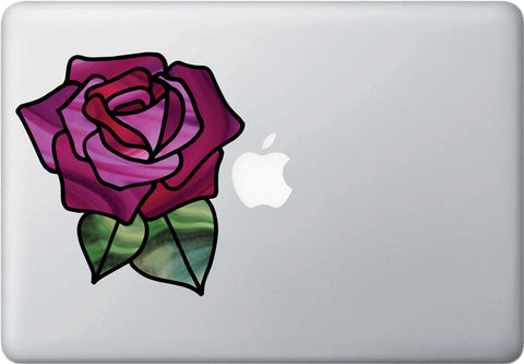 "CLR:MB - Rose Stained Glass -D1- OPAQUE Vinyl Laptop Macbook Decal  - © YYDC (5""w x 5.3""h) (Color Choices)"